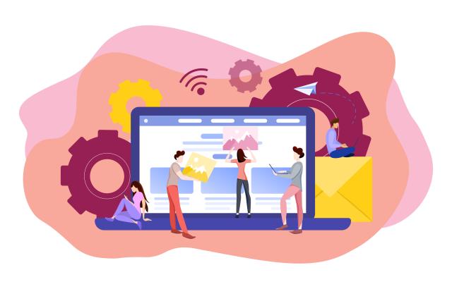 Imagem com pessoas trabalhanod na criação e otimização de site